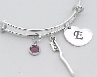 Toothbrush bracelet with heart initial | toothbrush jewellery | dentist gift | dental hygienist gift | teeth