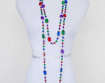 Vintage Multi-colored Extra Long Beaded Necklace