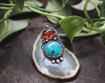 Sterling Silver Turquoise & Amber Statement Ring Size 7, Intricate Baltic Amber and Blue Turquoise Ring, Silver Multi-Stone Heirloom Ring