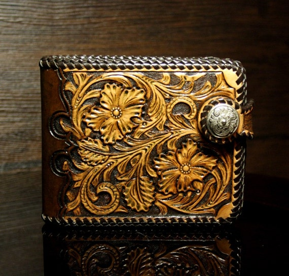 Hand Tooled Leather Mens Wallet With Floral Pattern In