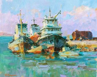 Seascape, Painting, Landscape, Oil painting, Original