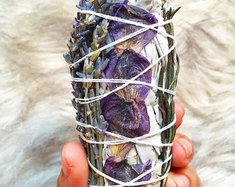 SMUDGE STICK - PurpleGladiolus Lavender, White Sage & Rosemary: Energy Clearing, Banish Negativity