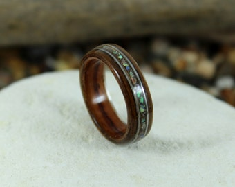 Kingwood & Olive Wood Ring With Abalone + Guitar Strings, Wooden Rings, Mens Wood Rings, Wooden Wedding Rings, Bent Wood Rings, Wooden Ring