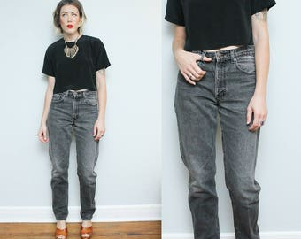 Levis 550 Black Denim Pants // 90s High Waist 31 x 24 Size 7 8 Jeans Relaxed Fit Tapered Leg Hipster Grunge Faded Black 35 Inch Inseam