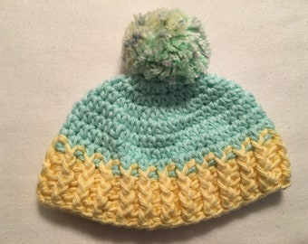Handmade crochet beanie with pom-pom for newborn