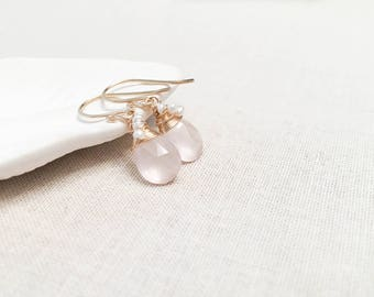 Rose Quartz and Pearl Bridal Drops - 14k Yellow Gold Fill Wire Wrapped Pale Pink Blush Rose Quartz Gemstones with Genuine Freshwater Pearls