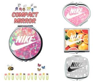 Nike compact mirror, makeup mirror, cosmetic mirror, portable mirror, double sided compact makeup mirror, purse mirror