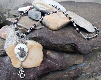 Howlite Hamsa & Om Necklace