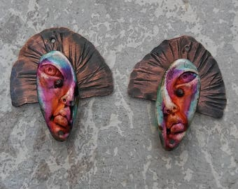 Lady of Guadalupe, copper earring components, polymer clay earrings, copper jewelry, handmade jewelry