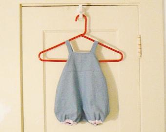 Light Denium  Baby Shortalls  / Custom made to order/ Pink piping Baby Shortalls / Blue pipping Baby Shortalls