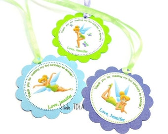 Customized Tinkerbell Thank you Scallop Tags with or without Ribbon-Personalized Tinkerbell Tags- Sets of 12pcs, 24pcs