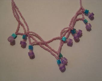 Purple and turquoise Bead Necklace