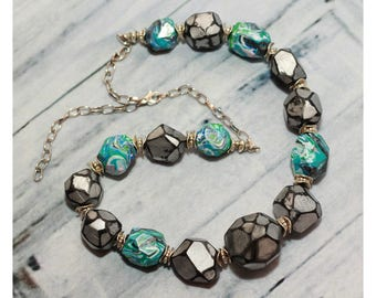 Collar Necklace - Statement Necklace - Beaded Necklace - Polymer Clay Jewelry - Fashion Necklace - Beaded Jewelry - Gift For Her