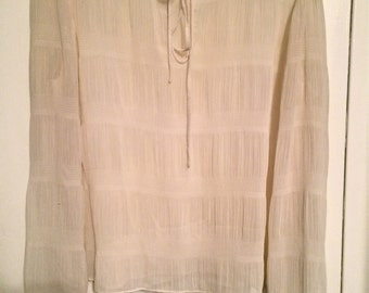 Vintage Sheer Chiffon Long Sleeve Tie Blouse