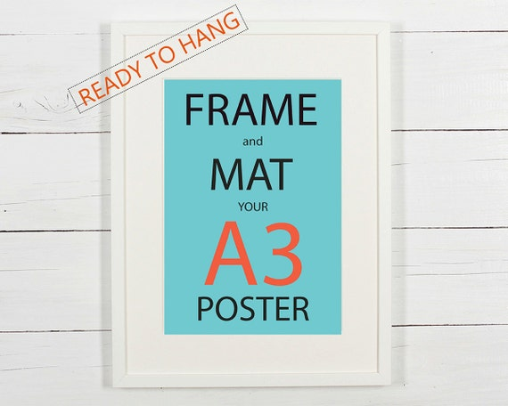 Frame and mat your A3 poster white wooden frame with white