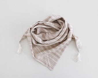 Striped tassel scarf