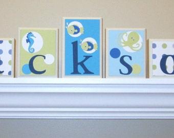 Baby Name Decor . ROUTED EDGE . Name Blocks . Nursery Name Blocks . Baby Name Blocks . Wood Name Blocks . Under the Sea . Ocean Theme