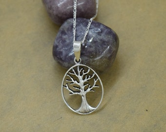 Sterling Silver Oval Tree of Life with Chain
