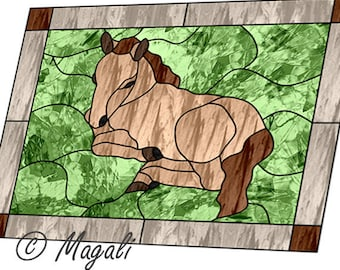 Baby Horse stained glass pattern