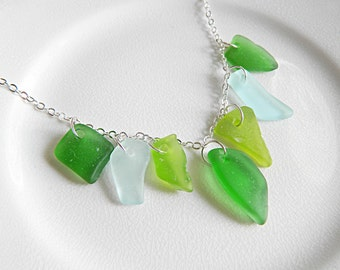 Seafoam & Green Sea Glass Fringe Necklace - Chesapeake Bay Seaglass Jewelry, Authentic Beach Glass Statement Necklace