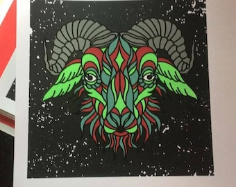 Green/Red Goat screen prints