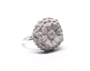 Concrete RING - 3D Flower Size adjustable