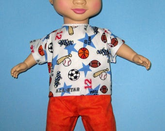 """Wonder Crew Outfit, Doll Clothes,Sports Short Set, 14""""  or 15"""" Doll Clothes, Boy Doll Clothes, Will, James, Erik, Marco Outfit"""