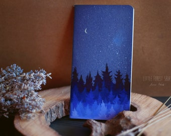 Blue Forest Notebook, Small Notebook , Illustration  , Journal
