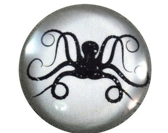 Octopus Cabochon - Glass - Cabochon - Blue and White
