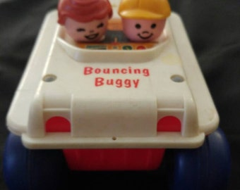 Vintage 1973 Fisher Price Bouncing Buggy Pull Toy (Pull String Missing)