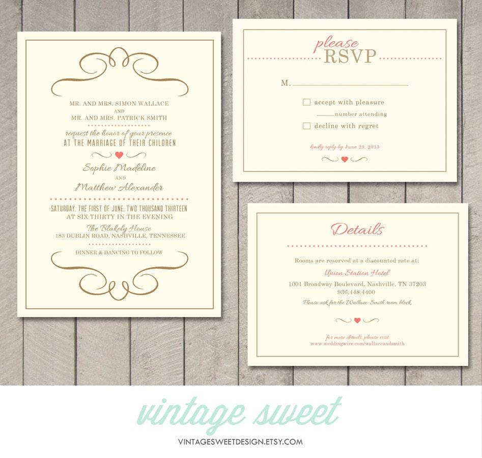 Modern Wedding Invitation RSVP Information Card Printable  Invitation Information Template