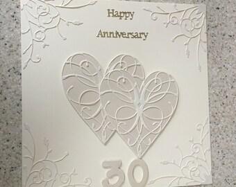 "Large 8 "" square Handmade Happy Pearl Wedding Anniversary Card 30 th Wedding Anniversary pearl pearlescent hearts"