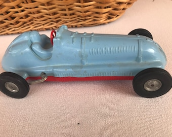 """Windup Plastic Race Car #1 with Rubber Wheels - 10"""""""