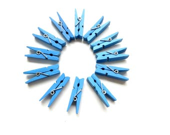set of 12 clothespins blue 35mm