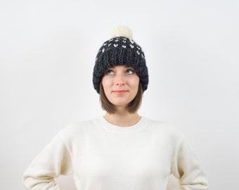 Fair Isle Knit Pom-Pom Hat, Fold-Over Brim, Wool Blend | THE HELSINKI in Charcoal + Snow