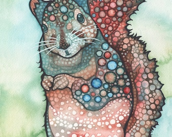 Thoughtful SQUIRREL 8.5 x 11 print of adorable watercolour painting artwork in rust red & turquoise earth tones, woodland forest cutie