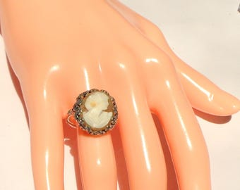 Size Adjustable, Vintage Cameo, New Sterling Silver Ring, Hand Carved  Italian Cameo, Carved Conch Shell Cameo, OOAK