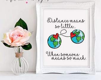 Long Distance Relationship Friendship Family Quote Personalised Print A5 A4 A3 Gift Present