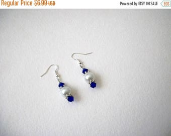 ON SALE Retro Czech Glass Faux Pearls Dangle Earrings 51516