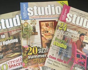 3 Cloth Paper Scissors Studios Magazines,Craft Space Ideas, Studios of Artists, Get Inspired