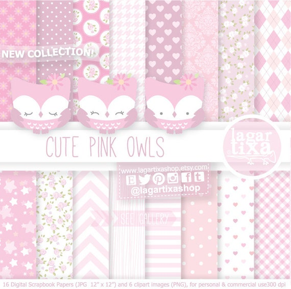 Digital Paper and Baby Shower Clip art girl cute Owl Banner