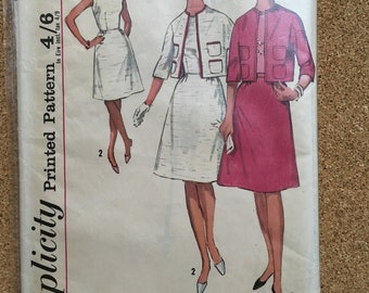 Vintage 1960's dress and jacket sewing pattern size 16 - Simplicity 5329