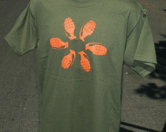 Mens large TALL tshirt Grenade Flower-  Army Green safetythird shirt with orange LT mens tshirt  explosions