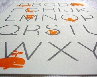 Letterpress Alphabet Poster. Modern Design. Orange and Gray.
