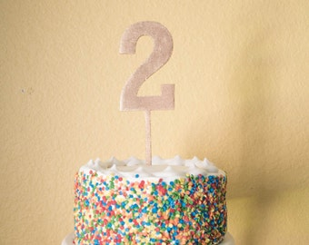 Number Two Birthday Cake Topper -  wood number 2