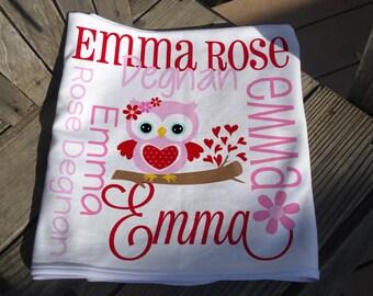 Personalized Valentine Baby Blanket - Sweetheart Owl Receiving Blanket for Girls - Valentine Baby Name Blanket - Newborn Swaddling Blanket