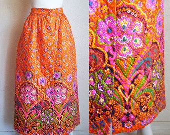 Vintage 70s High Waist Button Front Quilted Maxi Skirt w Border  S M