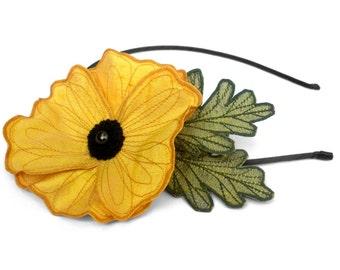 Sunshine Yellow Icelandic Poppy Flower Headband- You Choose Headband, Clip, or Brooch- Embroidered Silk Flower Fascinator with Leaves