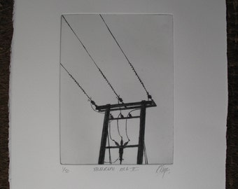 Telegraph Pole 5, drypoint etching, black and white, traditional copper plate hand pulled drypoint, printed in the traditional way