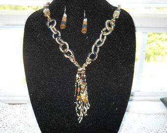 Sea Bead Necklace Earring Set #844